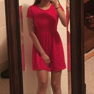Red lacey skater dress